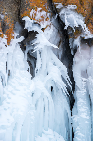 View of icicles on Lake Baikal, Olkhon island, Siberia, Russia 免版税图像