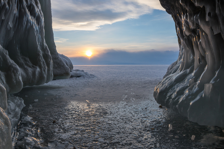 View of Lake Baikal in winter, the deepest and largest freshwater lake by volume in the world, located in southern Siberia, Russia Stock fotó