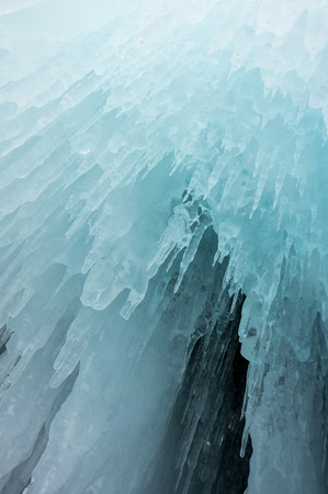 View of icicles on Lake Baikal, Siberia, Russia Stock Photo