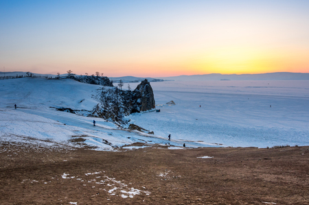 View of Lake Baikal in winter, the deepest and largest freshwater lake by volume in the world, located in southern Siberia, Russia Stockfoto