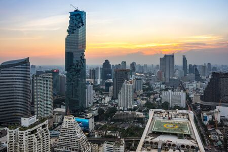 BANGKOK, THAILAND - JANUARY 20, 2017: View of MahaNakhon (the tallest building in Thailand), a mixed-use skyscraper in the SilomSathon central business district of Bangkok, Thailand