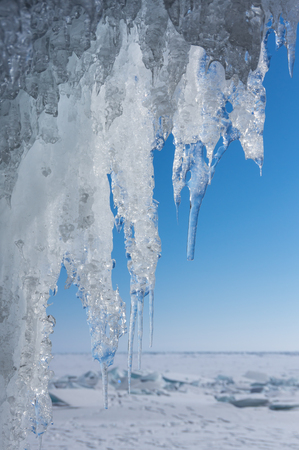 View of icicles on Lake Baikal, Siberia, Russia Stock fotó