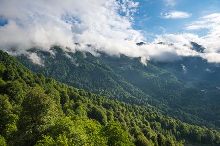 View of Caucasian mountains in Krasnodar Krai, Russia Imagens