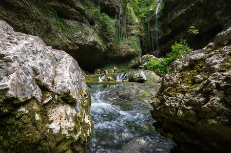 View of the waterfall in Caucasian mountains in Krasnodar Krai, Russia 写真素材