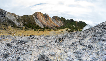 The crater of volcano Sibayak on island Sumatra, Indonesia