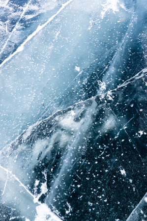 Ice of Lake Baikal, the deepest and largest freshwater lake by volume in the world, located in southern Siberia, Russia Imagens