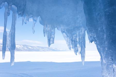 View of icicles on Lake Baikal, Siberia, Russia
