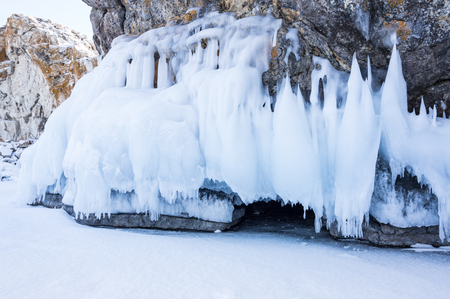 View of icicles on Lake Baikal, Siberia, Russia 免版税图像