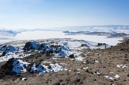 Panoramic view of Olkhon Island at Baikal Lake, Siberia, Russia