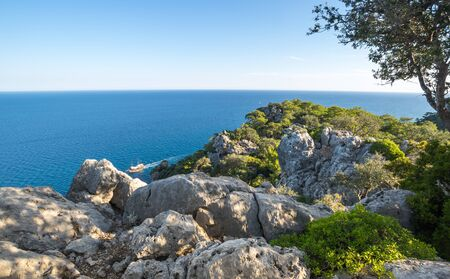 The coast of Mediterranean sea in Kemer, seaside resort and district of Antalya Province on the Mediterranean coast of Turkey 版權商用圖片