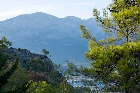 View of mountains in Kemer, seaside resort and district of Antalya Province on the Mediterranean coast of Turkey