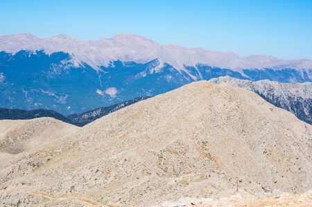 Panoramic view from the peak of Tahtali, a mountain near Kemer, a seaside resort on the Turkish Riviera in Antalya Province, Turkey 版權商用圖片