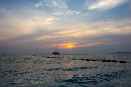 View of sunset over Gulf of Thailand in Pattaya resort