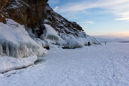 View of Lake Baikal in winter, the deepest and largest freshwater lake by volume in the world, located in southern Siberia, Russia Stok Fotoğraf