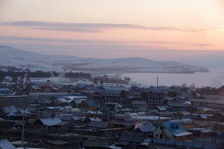 The village Khuzhir in winter, Olkhon island, Lake Baikal, Siberia, Russia Stok Fotoğraf