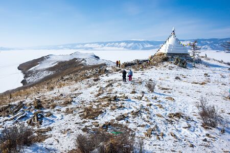 Panoramic view of Ogoy Island, the largest island in the Maloe More strait of Lake Baikal, Russia 写真素材