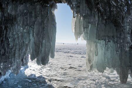 Avis de glaçons sur le lac Baïkal, Sibérie, Russie