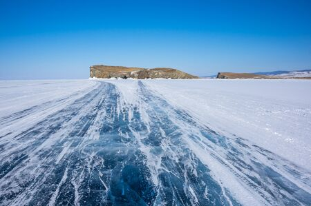 View of Lake Baikal in winter, the deepest and largest freshwater lake by volume in the world, located in southern Siberia, Russia Zdjęcie Seryjne