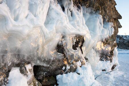 View of icicles on Lake Baikal, Siberia, Russia Stok Fotoğraf