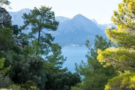 Veiw of mountains in Kemer, seaside resort and district of Antalya Province on the Mediterranean coast of Turkey Stok Fotoğraf