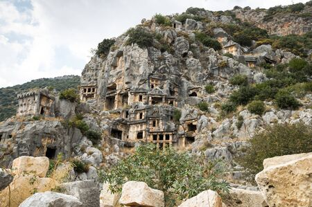 View of rock-cut tombs of ancient city Myra, Antalya Province of Turkey