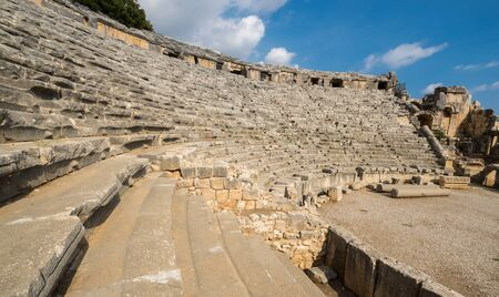 View of ruins of ancient amphitheater in city Myra, Antalya Province of Turkey