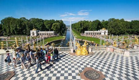 SAINT- PETERSBURG, RUSSIA - JULY 10, 2017: Fountains of the Grand Cascade in Peterhof, Saint-Petersburg, Russia. The park ensemble of Peterhof belongs to the world heritage of UNESCO