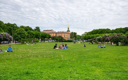 SAINT- PETERSBURG, RUSSIA - JUNE 11, 2017: The Field of Mars or Marsovo Polye is a large park named after Mars, the Roman god of war, situated in the center of Saint-Petersburg, Russia Editorial