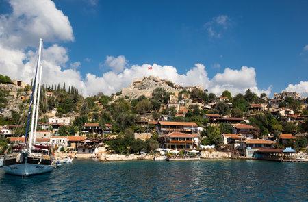 ANTALYA, TURKEY - OCTOBER 23, 2017: View of village Simena on the coast of Mediterranean sea on the Turkish Riviera in Antalya Province, Turkey