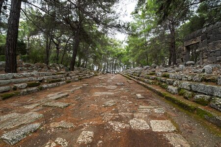 Ruins of Phaselis, ancient Greek and Roman city on the coast of ancient Lycia. Its ruins are located north of the modern town Tekirova in the Kemer district of Antalya Province in Turkey