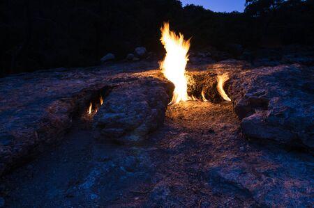 Flames of Mount Chimaera from the underground, Cirali, Turkey