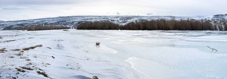 View of Kurai steppe in the winter, Altay mountains, Siberia, Russia