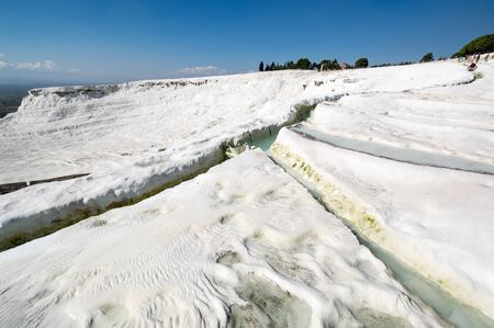 Thermal springs of Pamukkale with terraces and natural pools in Denizli in southwestern Turkey