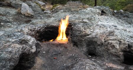 Flames of Mount Chimaera from the underground, Cirali, Turkey Stock Photo