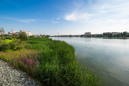 Embankment of the lake Nizhny Kaban in Kazan, capital of Republic Tatarstan, Russia 免版税图像 - 157366302