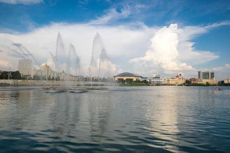 View of the lake Nizhny Kaban in the historical center of Kazan, capital of Republic Tatarstan, Russia 版權商用圖片