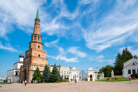 Leaning Tower Syuyumbike and The Governor's / Presidential palace in the Kazan Kremlin, Kazan, Russia