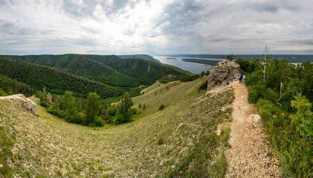Panoramic view of Zhiguli mountains in Samara region, Russia 免版税图像