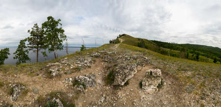 Panoramic view of Zhiguli mountains in Samara region, Russia 免版税图像