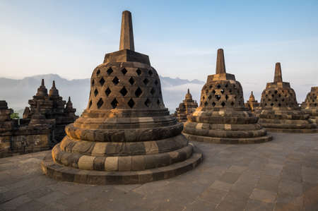 Borobudur, or Barabudur is a 9th-century Mahayana Buddhist temple in Central Java, Indonesia. It is the world's largest Buddhist temple. 免版税图像 - 159234827