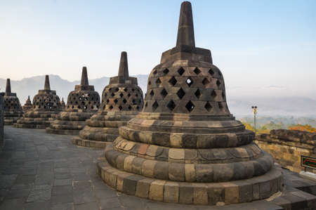 Borobudur, or Barabudur is a 9th-century Mahayana Buddhist temple in Central Java, Indonesia. It is the world's largest Buddhist temple. 免版税图像 - 159341671