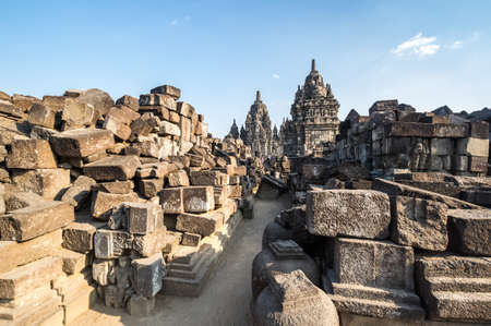 Prambanan or Rara Jonggrang is a 9th-century Hindu temple compound in Special Region of Yogyakarta, Indonesia 免版税图像 - 159508167