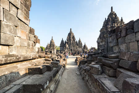 YOGYAKARTA, INDONESIA - 09 SEPTEMBER 2018: Prambanan or Rara Jonggrang is a 9th-century Hindu temple compound in Yogyakarta, Indonesia 免版税图像 - 159484953