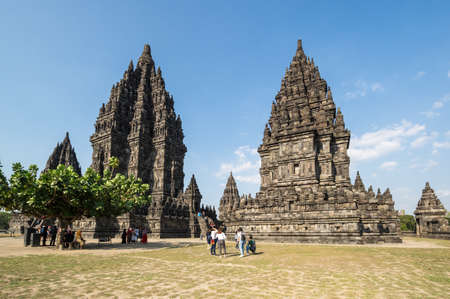 YOGYAKARTA, INDONESIA - 09 SEPTEMBER 2018: Prambanan or Rara Jonggrang is a 9th-century Hindu temple compound in Yogyakarta, Indonesia