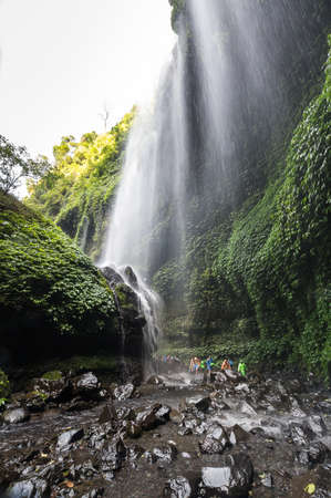 Main cascade of Madakaripura waterfall on island Java, Indonesia 免版税图像