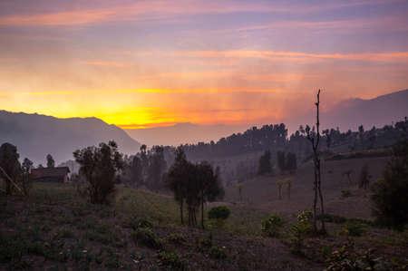 View of Bromo Tengger Semeru National Park on sunrise, East Java, Indonesia