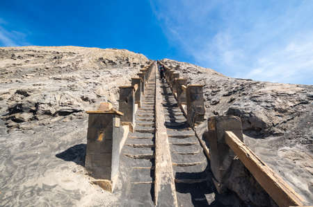 Staircase to Mount Bromo, an active volcano in Bromo Tengger Semeru National Park, East Java, Indonesia