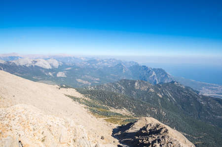Panoramic view from the peak of Tahtali, also known as Lycian, a mountain near Kemer, a seaside resort on the Turkish Riviera in Antalya Province, Turkey