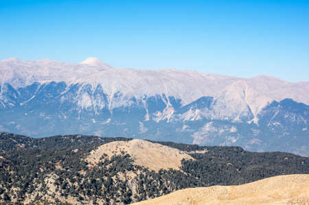 Panoramic view from the peak of Tahtali, also known as Lycian , a mountain near Kemer, a seaside resort on the Turkish Riviera in Antalya Province, Turkey Banco de Imagens