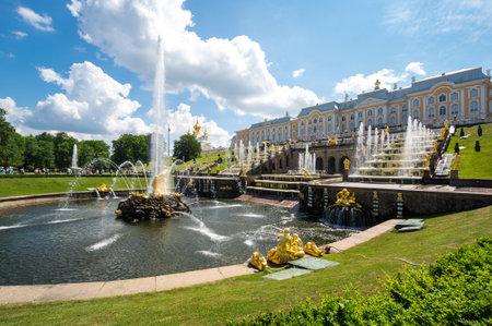 SAINT- PETERSBURG, RUSSIA - JUNE 18, 2018: Fountains of the Grand Cascade, Saint-Petersburg, Russia. The park ensemble of Peterhof belongs to the world heritage of UNESCO
